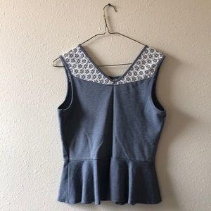 Paper Crane Tops - Peplum Top with Lace Detail